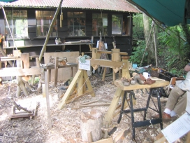 Shave horse, lathes & general work area