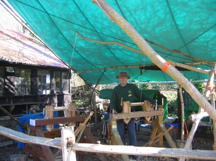 Colin Wells the tutor at Amberley museum  and heritage centre for pole lathe and shave horse use plus greenwood working skills polelathe and sahvehorse building courses