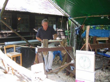 Peter learning the skills for using the Polelathe
